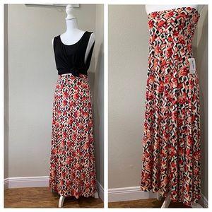 SALE LLR S NWT Black Floral Lattice Maxi Skirt